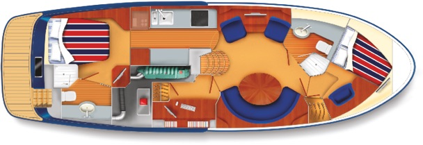 E3 yacht cabin plan with two double beds