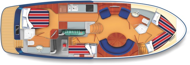 E3 yacht cabin plan with double bed and four single beds