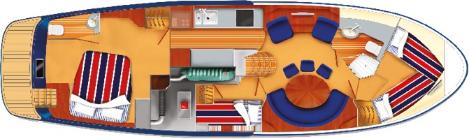 E4 yacht cabin plan with double beds