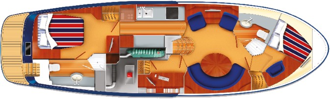 E4 yacht cabin plan with single beds